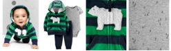 Carter's Baby Boys 3-Pc. Striped Fleece Hoodie, Printed Bodysuit & Pants Set