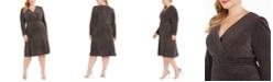 R & M Richards Plus Size Glitter-Knit A-Line Dress