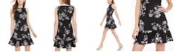 Rosie Harlow Juniors' Printed Ruffled Fit & Flare Dress