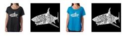 LA Pop Art Women's Dolman Cut Word Art Shirt - Species of Shark