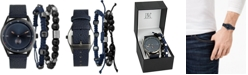 INC International Concepts I.N.C. Men's Faux Blue Leather Strap Watch 33mm Gift Set, Created For Macy's