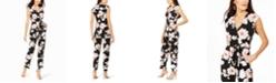 Jessica Howard Surplice Floral-Print Jumpsuit