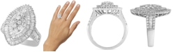 Macy's Diamond Baguette-Cut Oval Halo Statement Ring (2 ct. t.w.) in 14k White Gold