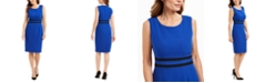 Kasper Contrast-Waist Sheath Dress