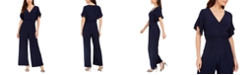 Jessica Howard Petite Ruched Wide-Leg Jumpsuit