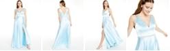 Blondie Nites Juniors' Embellished Faux-Wrap Gown