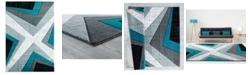 "Asbury Looms Bristol Zine 2050 10069 28C Turquoise 2'7"" x 7'4"" Runner Rug"