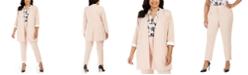 Calvin Klein Plus Size Collarless Blazer, Floral-Print Top & Straight-Leg Pants