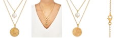 """Macy's Cultured Freshwater Pearl (9mm) & Coin Double Layer 18"""" Pendant Necklace in 14k Gold-Plated Sterling Silver"""
