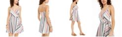 Speechless Juniors' Striped Surplice Wrap Dress