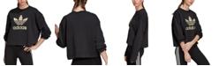 adidas Women's Cotton Metallic-Logo Cropped Sweatshirt