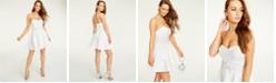 B Darlin Juniors' Embellished Appliqué-Waist Dress