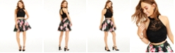 City Studios Juniors' 2-Pc. Lace Halter Top & Floral-Print Skirt