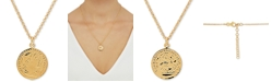 """Macy's Coin Medallion 18"""" Pendant Necklace in 18k Gold-Plated Sterling Silver"""