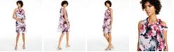 Robbie Bee Petite Floral-Print Tie-Neck Dress