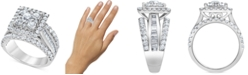 Macy's Diamond Square Halo Multi-Row Engagement Ring (3 ct. t.w.) in 14k White Gold