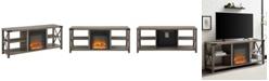 "Walker Edison 60"" Farmhouse Metal X Fireplace Console"