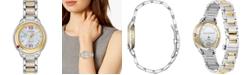 Citizen Citizen Eco-Drive Women's Snow White Diamond-Accent Two-Tone Stainless Steel Bracelet Watch 33mm