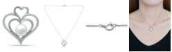 """Macy's Imitation Pearl and Cubic Zirconia Pave Triple Heart Slide Pendant on in Silver Plate 18"""""""