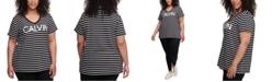 Calvin Klein Plus Size Runway Striped Top