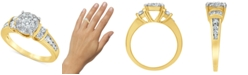 Macy's Diamond (1 ct. t.w.) Halo Engagement Ring in 14k Yellow Gold
