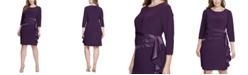 Jessica Howard Plus Size Satin-Ruffle Sheath Dress