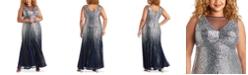 R & M Richards Plus Size Sequin Ombré Gown