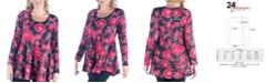 24seven Comfort Apparel Women's Plus Size Floral Print Swing Tunic Top