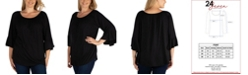 24seven Comfort Apparel Women's Plus Size Flared Long Sleeves Henley Tunic Top