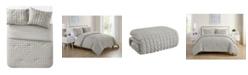 VCNY Home Amelia Seersucker Pleat 3 Piece Comforter Set, Full/Queen