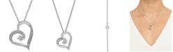 Macy's Diamond Heart Pendant Necklace (1/10 ct. t.w.) in Sterling Silver