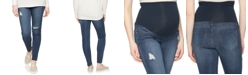 kensie Jeans Distressed Maternity Skinny Jeans, True Blue Wash