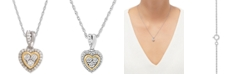Macy's Diamond Mini-Heart Pendant Necklace (1/10 ct. t.w.) in Sterling Silver and 14k Gold