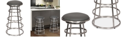 """Armen Living Ringo 30"""" Backless Brushed Stainless Steel Barstool in Gray Faux Leather"""