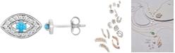 Macy's Diamond Evil Eye Single Stud Earring (1/10 ct. t.w.) in 14k White Gold