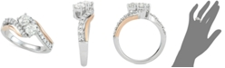 Two Souls, One Love® Diamond Two-Stone Two-Tone Engagement Ring (1 ct. t.w.) in 14k White & Rose Gold