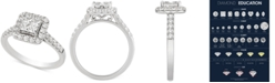 Macy's Diamond Princess Cluster Engagement Ring (1 ct. t.w.) in 14k White Gold