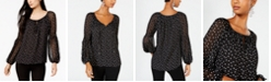 INC International Concepts INC Printed Ruffled Contrast Peasant Blouse, Created for Macy's