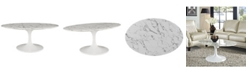 """Modway Lippa 42"""" Oval-Shaped Artificial Marble Coffee Table"""