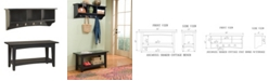 Alaterre Furniture Shaker Cottage Storage Coat Hook with Bench Set, Charcoal Gray