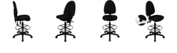 Flash Furniture Mid-Back Black Fabric Multifunction Drafting Chair With Adjustable Lumbar Support
