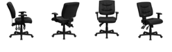 Flash Furniture Mid-Back Black Leather Multifunction Swivel Task Chair With Adjustable Arms