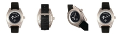 Morphic M46 Series, Silver Case, Black Leather Band Men's Watch w/Date, 44mm