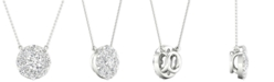 """Line of Love Diamond Halo Pendant Necklace (1 ct. t.w.) in 14k White Gold, 16"""" + 2"""" extender"""