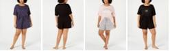 Jenni Plus Size Core Short-Sleeve Top & Pajama Shorts Sleep Separates, Created for Macy's