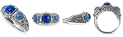 American West Lapis and Denim Lapis Band Ring in Sterling Silver