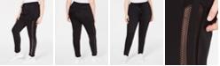 Lala Anthony La La Anthony Trendy Plus Size Mesh Stripe Jogger Pants