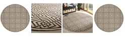 "Safavieh Linden Natural and Brown 6'7"" x 6'7"" Round Area Rug"