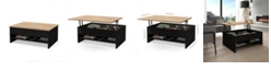 """Bestar Small Space 37"""" Lift - Top Storage Coffee Table with Solid Wood Top Surface"""