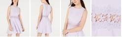 B Darlin Juniors' Double-Ruffle Crochet-Waist Fit & Flare Dress
